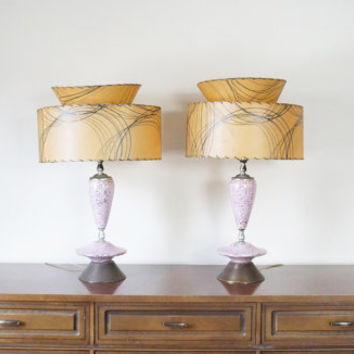 Pair of Pink Mid Mod Atomic Vintage Lamps - Speckled Atomic Sputnik Lamp 60's 50's Mad Men Modern Set