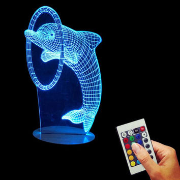 Free Shipping 1Piece Multi-Colored Bulbing Light Dolphin 3D Optical Illusion Desk Night Light Led Table Lamp Home Decor For Kid