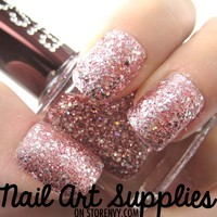Pink Diamonds - Shiny Silver on Pink Glitter Nail Polish Lacquer 16ml
