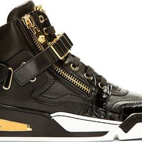Indie Designs Gold Medusa Head Black Leather Sneakers