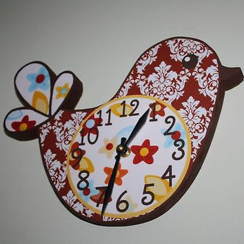 Kids Wall Clock Damask with Flowers Pretty Lil Birdie Bedroom Nursery Wall Clock WC0007