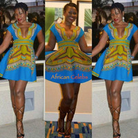 Dashiki Mini Dress Dashiki Dress African Dashiki Short Dress