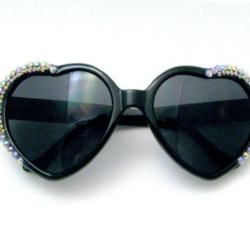 Black AB Heart Shaped Sunglasses - Glittering Swarovski Crystal Bedazzled Sunnies - Chic Black Frames, Pastel Rainbow Austrian Rhinestones