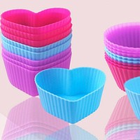 8pcs/lot Heart Shaped Silicone Cake Baking Molds Jelly Mold Silicon Cupcake Pan Muffin Cup YL884409