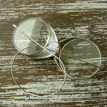 Vintage Eyeglasses, Safety Glasses, Antique Wire Rim Spectacles, Steampunk Goggles, Silver Metal, Mesh Sides, Willson, Industrial Aviator