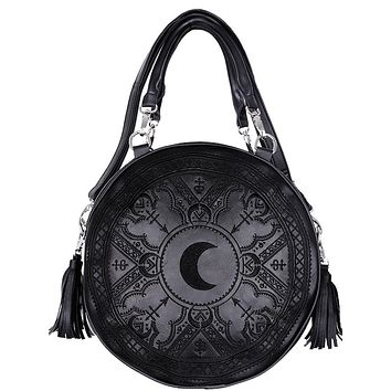 Restyle Gothic Occult Henna Round Black Faux Leather Moon Handbag