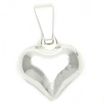 Sterling Silver 05.16.0212 Fancy Pendant, and Heart Polished Finish, Silver Tone