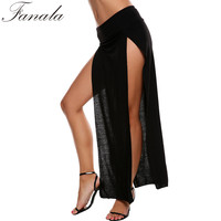 FANALA 9 Colors Women Cotton Skirts Cheap Sexy High Waist  Long Slit Skirt Lady Skinny Open Two Side Split Cropped Maxi Skirt