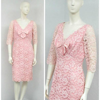 Vintage 60s Light Pink Lace Dress, Wiggle Dress, Party Dress, Fitted Dress, Empire Waist Dress, Knee Length Dress, Bow Dress