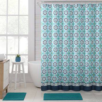 "Royal Bath Retro Snowflake Embossed Microfiber Fabric Shower Curtain - 72"" x 72"""