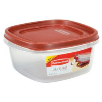 Rubbermaid INC 7J66-00-CHILI 5-cup Easy-find Lid Square Food Storage Container