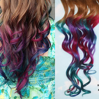 Handmade Peacock Tye Dye Tip Extensions 20-22 inches long, Clip In Hair Extensions, Hippie Hair, Dip Dyed Tips