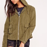 Missguided - Cropped Utility Hooded Jacket Khaki