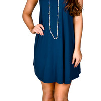 Piko Sleeveless Swing Dress- Navy