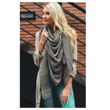 Adorable Shredded Weave Huge Grey Blanket Scarf