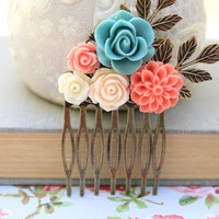 Flower Hair Comb Coral Chrysanthemum Bridal Flowers for Hair Leaf Rustic Branch Teal Wedding Hair Accessories Peach Rose Comb Summer Beach