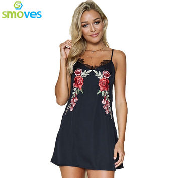 Smoves Spagehetti Strap Lace Trimed V Neck Floral Embroidery Satin Slip Dress Casual Woman Dresses GD380