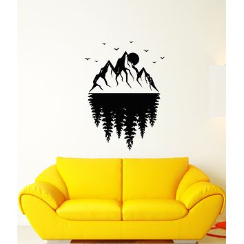 Vinyl Wall Decal Mountains Landscape Moon Forest Nature Stickers (3635ig)