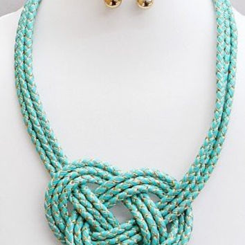 Womens Jewelry, Twine Intertwined Knotted Necklace and Earring Set. Size : 16 Inch with 3 Inch Extender. Post Earrings.