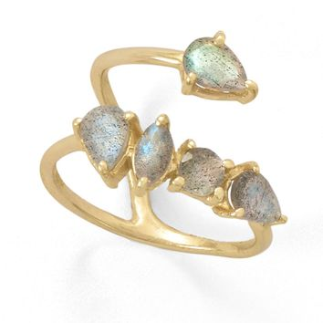 Sterling Silver 14k Yellow Gold Plated Labradorite Multi Stone Wrap Ring