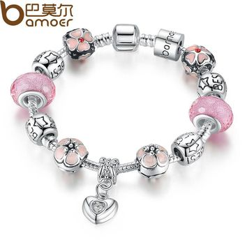 Silver Charm Bracelet with Heart Pendant & Cherry Blossom Charm Pink Murano Glass Beads Friendship Bracelet PA1459