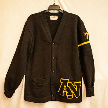 Letterman Black Wool Cardigan Football Sweater, Large Mens Black Wool Football Letterman Sweater