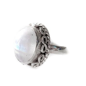 Sterling Silver Natural Oval Rainbow Moonstone Filigree Design Ring
