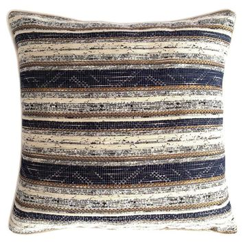 """Cotton Blended Striped Pattern 18""""x18"""" Blue-Cream Pillow Case/Cushion Cover"""