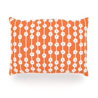 "Heidi Jennings ""Orange You Cute"" Tangerine White Oblong Pillow"