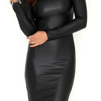 Black Long Sleeve Faux Leather Bodycon Midi Dress