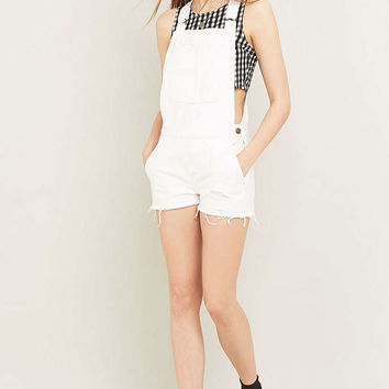 BDG Raw Edge White Denim Dungarees - Urban Outfitters