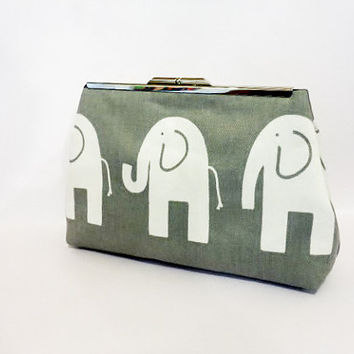 Metal Snap Pouch Cosmetic Bag Toiletry Bag  Metal Frame Purse Elephants in Grey