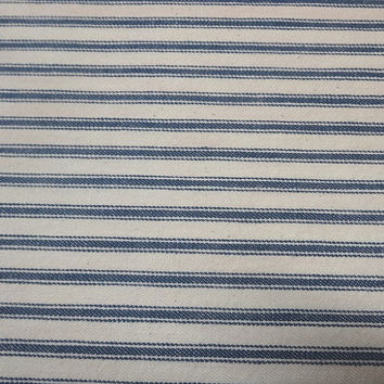 7/8 Yard Cut of 1940s Vintage Woven Cotton Ticking Fabric, 35 Inches Wide, Blue & White Stripes, Pillows, Curtains, Vintage Fabric, Sewing