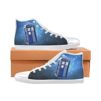 Dr. Who Tardis Hi Tops Men's or Womens High Top Canvas Shoes