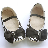 Baby Shoes, Baby Girl Ballet Flats, Black Damask Baby Shoes