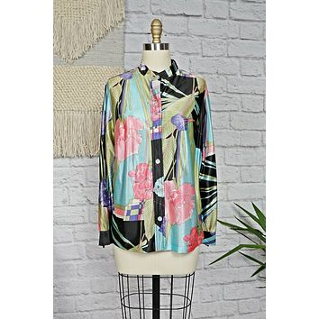 Vintage Abstract  Tropical Floral Blouse