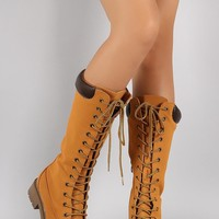 Bamboo Combat Lace Up Knee High Boots