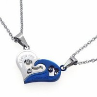 "D&J Jewelry Valentine Couple's ""Love You"" Double Heart Pendant Necklaces Titanium Stainless Steel (One Pair) STN10: Jewelry: Amazon.com"