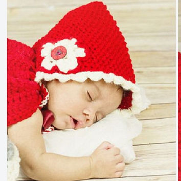 Newborn bonnet prop, pixie baby bonnet, little red riding hood inspired, red knit bonnet, newborn size hat, girls bonnet hat
