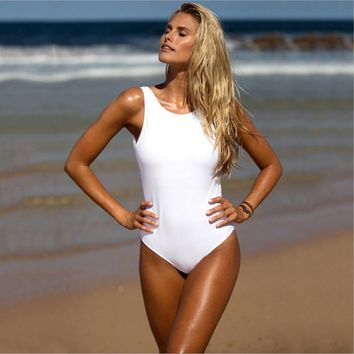 Summer fashion sexy black and white halter swimsuit one piece bikini show thin vest
