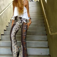 Coffee Floral Elastic Waist High Waisted Vintage Long Pants