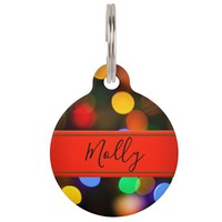 Multicolored Christmas lights. Add text or name. Pet ID Tag