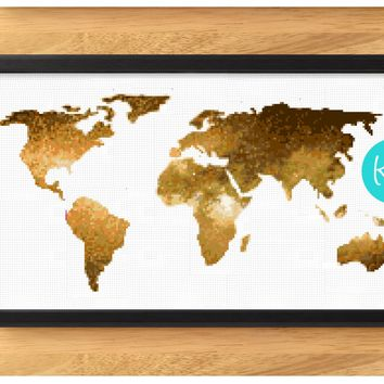 World Map Cross Stitch Kit - Gold