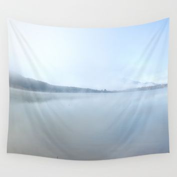 """Wild sunrise"". Foggy lake Wall Tapestry by Guido Montañés"