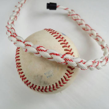 Baseball  necklace, baseball paracord necklace, white and red accessory, baseball player gift, white softball necklace, custom length