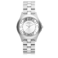 Marc by Marc Jacobs Designer Women's Watches Henry Skeleton 34 MM Silver Tone Stainless Steel Women's Watch
