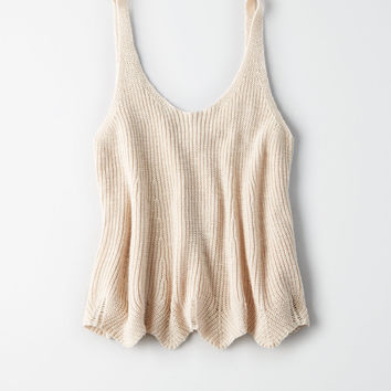 AE Scallop Swing Tank Top, Oatmeal