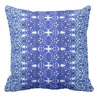 Openwork pattern in the style blue-chinoiserie throw pillow