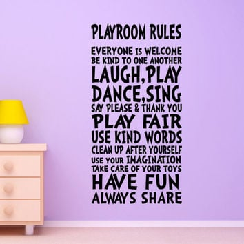 Wall Decals for Kids Playroom Boys Girls Teens Rules Decor Art Sign