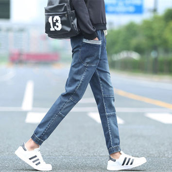 Autumn Casual Jeans Korean Slim Pants Sportswear Ruffle Stripes Skinny Pants [6543159363]